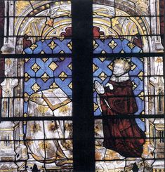 """The Royal Window in the choir of Évreux Cathedral is outstanding representative of the International (or Soft) Gothic style, developed by 1400. The donation by Charles VI was probably commissioned from a workshop in Paris. The king occupies the centre of the four-panel window. Shown kneeling in a small vaulted space, he turns, with St Denis near by, toward the Virgin. The artistic virtuosity and lavishness of these panels exceed everything that is known elsewhere in France from this period...."