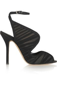 Oscar de la Renta Suzy leather, chiffon and satin sandals | NET-A-PORTER