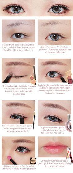 Korean Big Eye Circle Lenses: Korean Skin Care & Makeup - More in www.uniqso.com: Red Velvet Ice Cream Makeup Tutorial with ICK Gaudy Blue & Brown Long Wig: