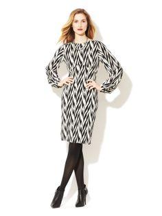Silk abstract herringbone dress