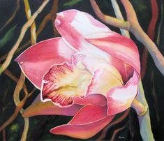 "Contemporary Painting - ""Cymbidium Lace"" (Original Art from Clara Hada)"