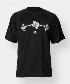 Show off your Aggie spirit while getting pumped up with this shirt. Made of 100% soft breathable polyester, this shirt was made for physical activity. From weight lifting to running to basketball this shirt is perfect for them all. The front of the shirt features a barbell graphic spilt by Texas imposed with a block ATM logo.