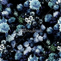 Vintage Blue Flowers by Tim Lee Seamless Repeat Royalty-Free Stock Pattern Dark Backgrounds, Blue Flowers, Floral Design, Repeat, Royalty, Garden, Pattern, Plants, Junk Journal
