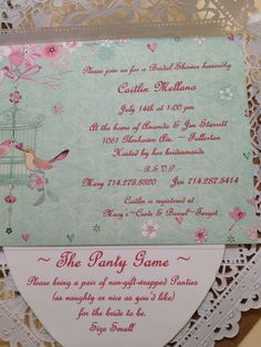 Bridal shower invitation love birds wrapped in doily mint and pinks