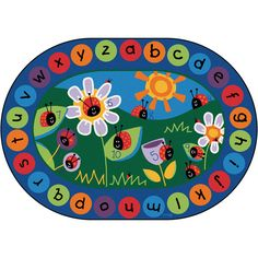 "Ladybug Circle Time Classroom Rug - Oval - 6' 9""W x 9' 5""L at SCHOOLSin"