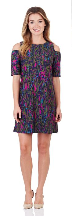 Natalie Cold-Shoulder Dress in Feathered Abstract Navy - FINAL SALE