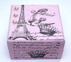 Pink Paris Eiffel Tower Keepsake Box by missbohemia on Etsy