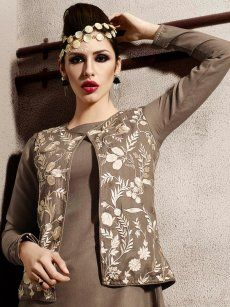 Exotic Brown Embroidery Pashmina Kurti