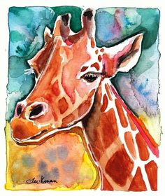 Giraffe Watercolor Painting Print Artist-Signed by CanyonWrensNest Watercolor Animals, Watercolor Paintings, Watercolor Ideas, Watercolors, Love Painting, Painting Prints, Giraffe Painting, Wildlife Biologist, Jungle Art