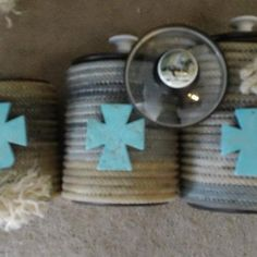 Western Rope Canister Set by USpur on Etsy Cowboy Crafts, Western Crafts, Western Decor, Southwestern Home Decor, Rope Decor, Cowboy Christmas, Rope Art, Rope Crafts, Rope Basket