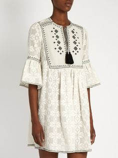 Talitha Diamond-embroidered cotton dress