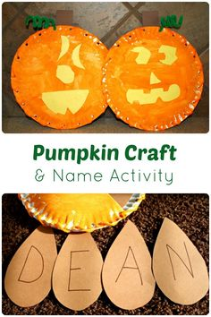 Pumpkin Craft and Name Activity...great fine motor practice. You can change the seeds to practice names, numbers, letters, sight words and more.