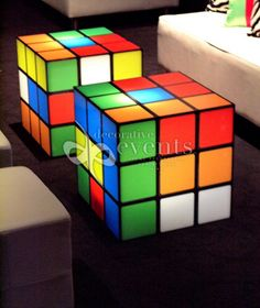 Rubik's cube lounge tables - 1980s theme.