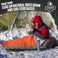 Gear Ultra-Light Duck Down Winter Sleeping Bag Rated to -30 Below Zero. The Family Camping Store- http://ift.tt/29wddhN #camping #hiking #outdoor #wintersleepingbag #sleepingbag #outdoorwintersleepingbag