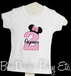 Personalized Minnie Mouse Birthday Number Shirt by bowdaciousbaby, $18.00
