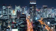 大阪の夜景 光輝く大都会 微速度撮影 Glittering Osaka City Night Time-lapse Japan