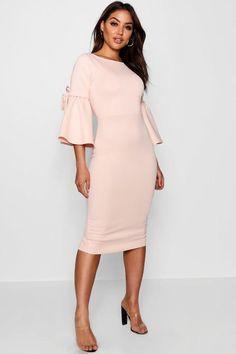 a1a2a3b5c4 Lauren Tie Sleeve Detail Midi Dress Dress For Petite Women