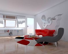 Enchanting Interior Decoration for Your Luxury Home Design: Luxury White Living Room With Red And Grey Sofa In Glossy Wooden Floor ~ tagota.com Home Design Inspiration