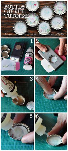 Lorrie Everitt Studio:  decoratated bottle cap tutorials