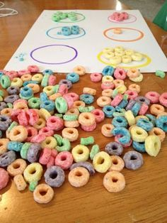 Fruit Loop Activities // Sorting colours, threading, counting