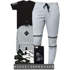10:21:15 by codeineweeknds on Polyvore featuring LA: Hearts, NIKE, Herschel Supply Co. and October's Very Own