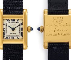 Christie's considers the Jackie Kennedy's Cartier tank and painting to be two of the most important historical artifacts to surface in recent years Cartier Santos, Stylish Watches, Luxury Watches, Elegant Watches, Patek Philippe, Cartier Watches Women, Cartier Panthere, Jacqueline Kennedy Onassis, Cartier Tank