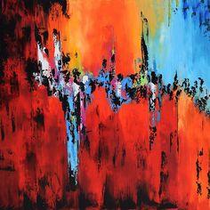 Grosser abstrakte zeitgenössische Malerei auf Leinwand, moderne Orange rot-blau-Wand-Kunst, Malerei, handgefertigten Original Wand-Dekor Klicken Sie bitte auf Mehr Registerkarte unten, um vollständige Beschreibung zu lesen. SOFORT lieferbar für 48 x 48 x 1. 5 aufgespannt zu
