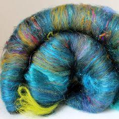 Galaxy  Drum Carded Wool Fiber Batt 2 ozs by SpunRightRound, $14.00