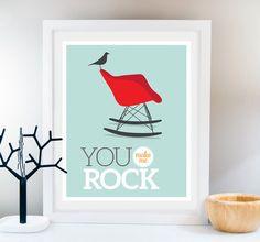Chair art You rock poster Eames chair Print Midcentury por Fybur