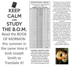 """A BOOK OF MORMON SUMMER"" READING PROGRAM!!! Help your SEMINARY STUDENTS to read the ENTIRE Book of Mormon before next school year with this program! ""If you have not read the Book of Mormon, READ IT!""–President Thomas S. Monson SEE: http://bookofmormonsummer.wordpress.com/ FACEBOOK PAGE: https://www.facebook.com/BookOfMormonSummer"