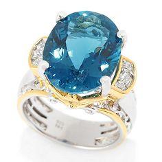 Gems en Vogue 9.58ctw Custom Cut London Blue Topaz & White Zircon Ring