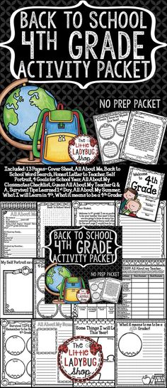 Back To School Activities 4th Grade is perfect for your students as they start back to school! The first few days of school are so hectic, why not make your time valuable and manageable! Through this packet you will get to know your students through valuable information and gather a great writing work sample! I hope this tool is as useful for you as it is for me and my students!