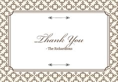 Matching Thank You card for the Stately Frame invitation and RSVP