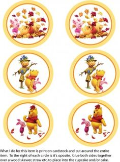 Cupcake Toppers Thanksgiving Pooh Party Decorations