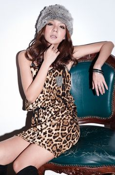 Trendy Leopard Sling Slim Dress Leopard
