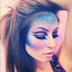 space makeup--I'm going to learn how to do this and do it for halloween! Maquillaje Halloween, Halloween Face Makeup, Cosplay Make-up, Glitter Carnaval, Alien Make-up, Horror Make-up, Galaxy Makeup, Beauty Make-up, Hair Beauty