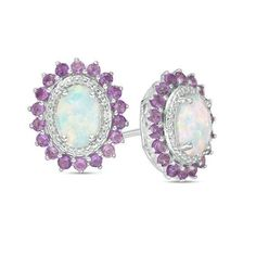 #Zales - #Zales Oval Lab-Created Opal, Amethyst and White Sapphire Sunburst Frame Stud Earrings in Sterling Silver - AdoreWe.com