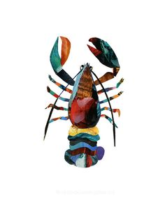 Lobster 85 x 11 Print of an Original Collage by seeingstars, $20.00