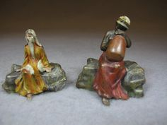 Vienna bronze orientalist pair of sculptures, original painting.