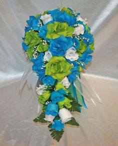 lime green and turquoise wedding | Details about Lime Green Turquoise Bridal Bouquet Silk Wedding Flowers ...