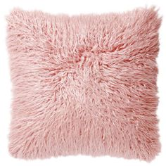 Blush Pink Mongolian Faux Fur Pillow- 18-in - At Home