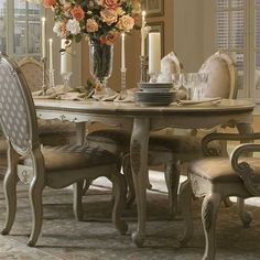 The Caravelle Dining Table is part of our <i>Designer Collection</i>.<br><br />This is one of our most romantic dining tables.  This breathtaking French-inspired, leg table is very versatile and most delightful in design.<br /> [$1,499.95]