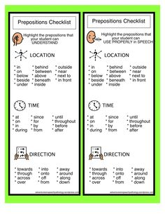 Preposition Checklist from Adventures in Speech Pathology. Pinned by SOS Inc. Resources @sostherapy.