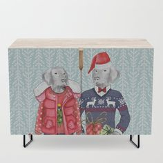"""A true statement maker. Our versatile mid-century modern inspired credenzas are great for use as TV stands, armoires, bar carts, office cabinets or the perfect complement to your bedroom set. The vibrant art printed on the doors will make your piece pop in any setting. Available in a warm, natural birch or a premium walnut finish.    - 35.5"""" x 17.5"""" x 30"""" (H) including legs   - Steel legs available in gold or black   - Interior shelf is adjustabl... Office Cabinets, Bar Carts, Weimaraner, Walnut Finish, Tv Stands, Ugly Christmas Sweater, Being Ugly, Birch, Mid-century Modern"""
