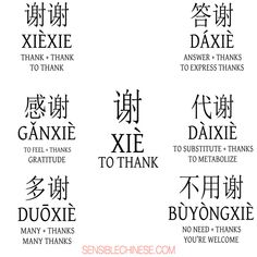 Words from Common Chinese Characters Thanks - Chinese Ideen Chinese Phrases, Chinese Words, Mandarin Pinyin, Learn To Speak Chinese, Mandarin Characters, Write Chinese Characters, Chinese Alphabet, Spanish Alphabet, Chinese Lessons