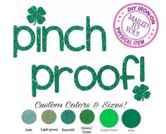 Diy St PATRICKS PINCH PROOF Iron On Applique, Patch, Heat Transfer Vinyl, Decal, Fabric, Clothing, Logo, Girl, Adult, Baby, Clover, Shamrock by wingsnthings13 on Etsy