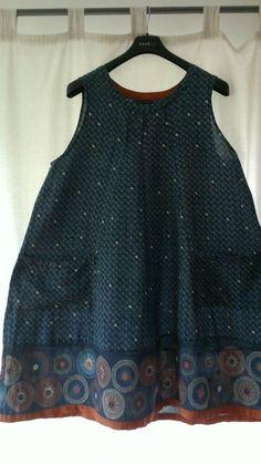 Tunika in blau XL A-Form. Gudrun Sjöden. Breite: ca. 67 cm unter dem Arm gemessen. 50 % Baumwolle / 50 % Leinen.   eBay!
