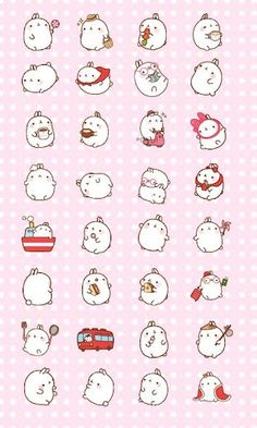 I'm crying rn. Molang is so cute Art Kawaii, Chibi Kawaii, Kawaii Bunny, Kawaii Doodles, Cute Bunny, Anime Chibi, Kawaii Stickers, Cute Stickers, Kawaii Drawings