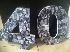 Overlapping black & white photo collage. Custom made with your pictures. Collage created on hand-carved numbers...any size available! on Etsy, $31.50