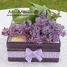 decoupage, pudełko na herbatę, kwiaty bzu, Decoupage Box für Tee, lila Blumen, декупаж коробка для чая, цветки сирени, decoupage box for tea, lilac flowers,